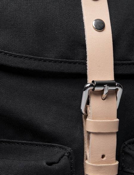 Sandqvist Roald Ground Canvas Backpack - Black/Natural Leather