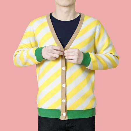 Unisex MATTER MATTERS V-Neck Wool/Cashmere Blend Cardigan - Yellow/Green