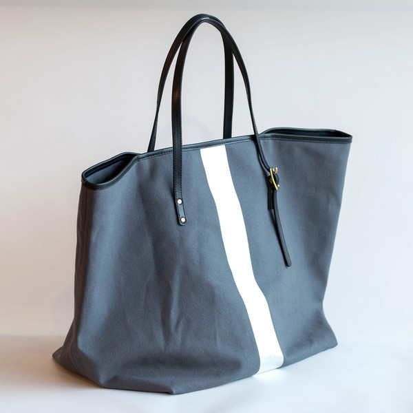 Kempton & Co Silver Stripe Beach Tote Charcoal/Silver