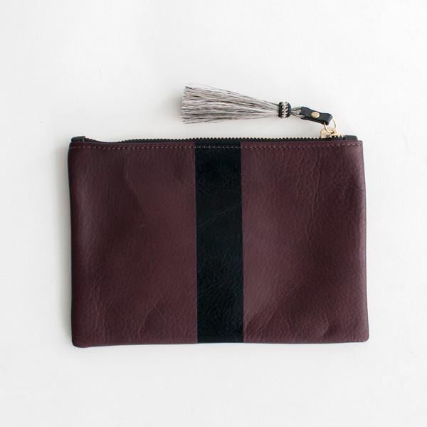 Kempton & Co Stripe Pouch Oxblood/Black - SOLD OUT