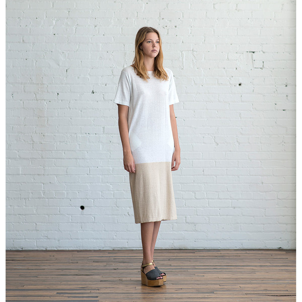 Lauren Manoogian Block Tall T Dress Cielo/Natural - SOLD OUT