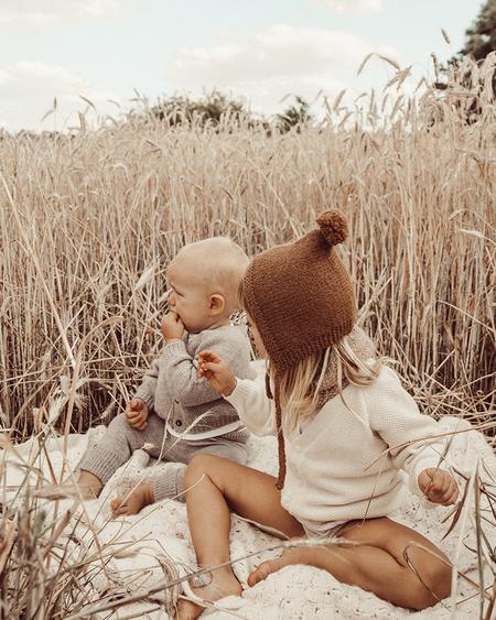 Kids Petit Kolibri Alpaca/Cotton V-neck Cardigan - Brown