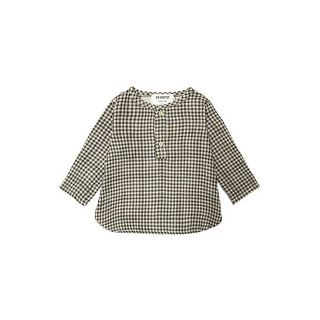 Kids Go Gently Nation Placket Top - Tan/Black Gingham