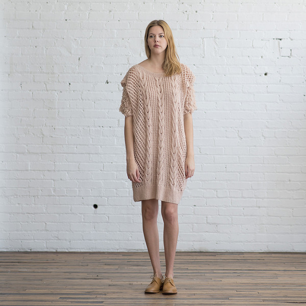 Ryan Roche Cable Knit Dress with Slip