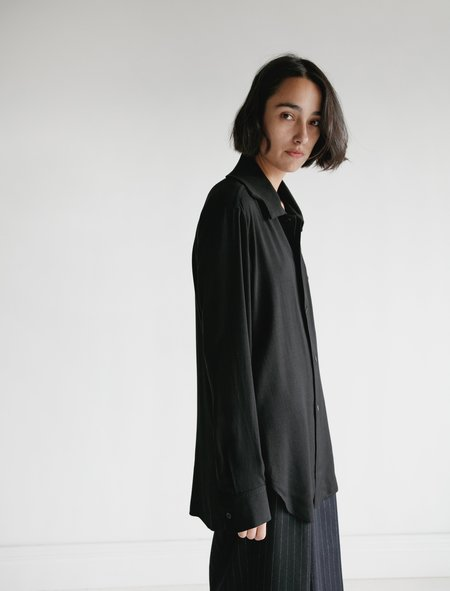 Ys by Yohji Yamamoto Knit Collar Shirt - Black