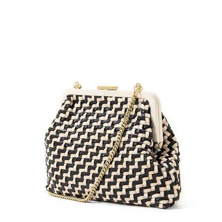 Clare V. Flore Woven Bag - Black/Cream Zig Zag