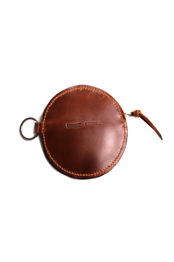 Minnie + George Circle Coin Purse in Brown Calf Hair