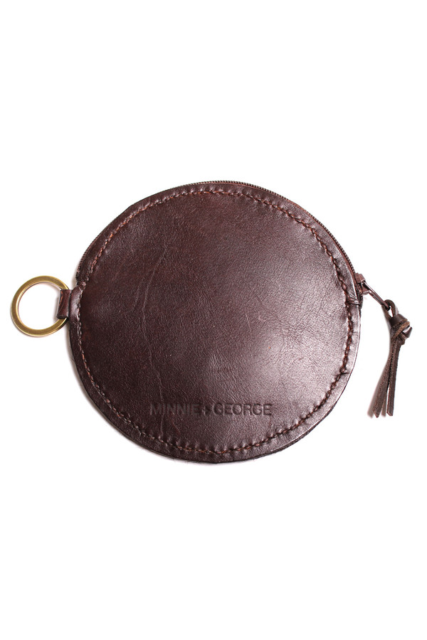 Minnie + George Circle Coin Purse in Dark Brown Calf Hair