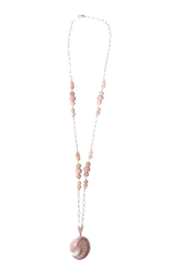 James and Jezebelle - Pink Moonstone and Shell Necklace