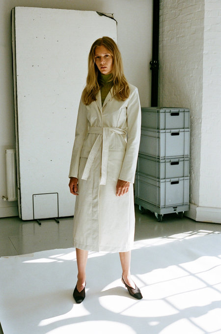 NOMIA Patent Belted Trench Coat - Cream