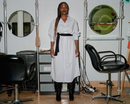 Baserange Flannel Ole Shirt Dress - White