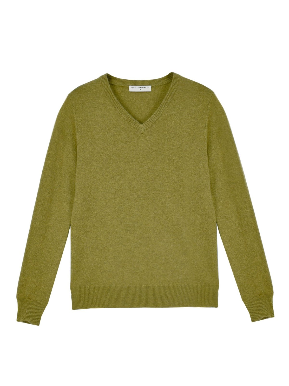 PURE CASHMERE NYC V Neck Sweater Olive
