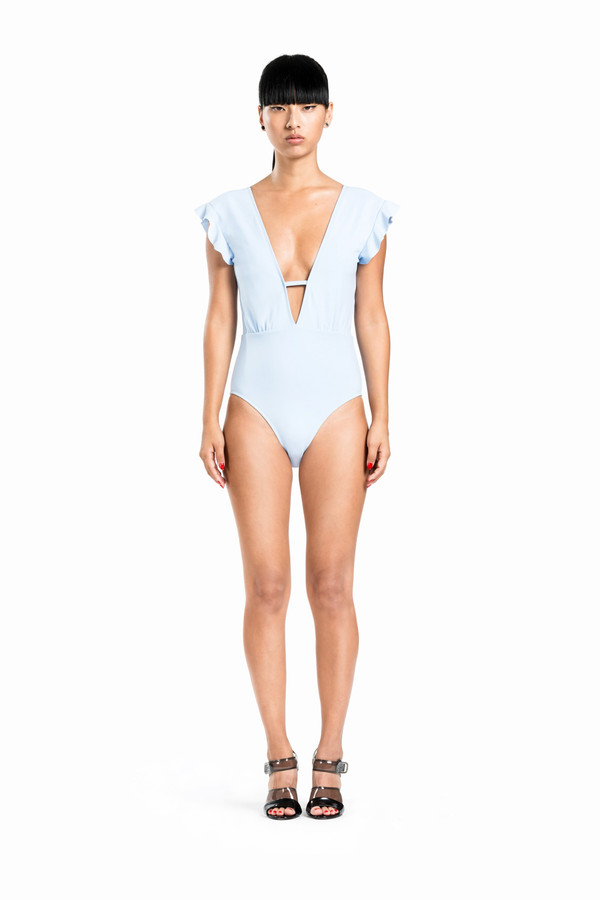 BETH RICHARDS Sophia One Piece - Chambray PLUNGING V-NECK ONE PIECE WITH RUFFLE DETAIL ON SHOULDER