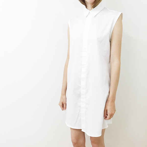 Shelby Steiner Sleeveless Button Down Shirt Dress