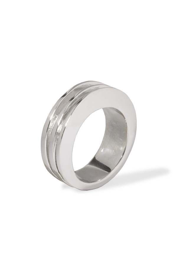 Slight Jewelry Connected Dome Ring in White Platinum Plated