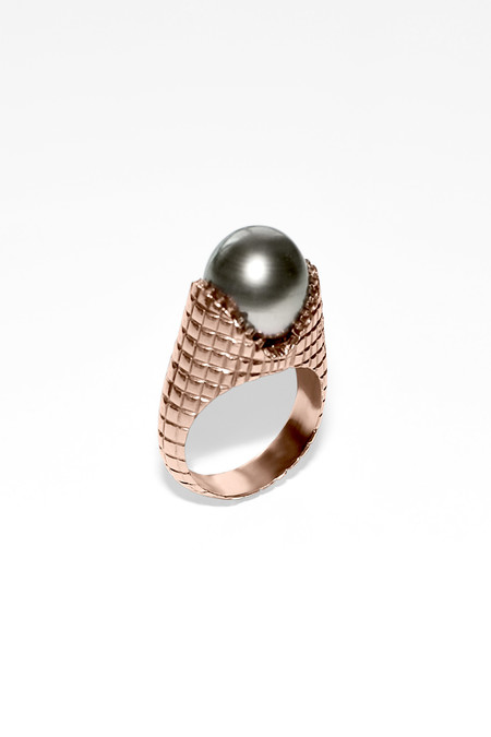 Slight Jewelry Grey Tahitian Pearl Ring in 14K Vermeil