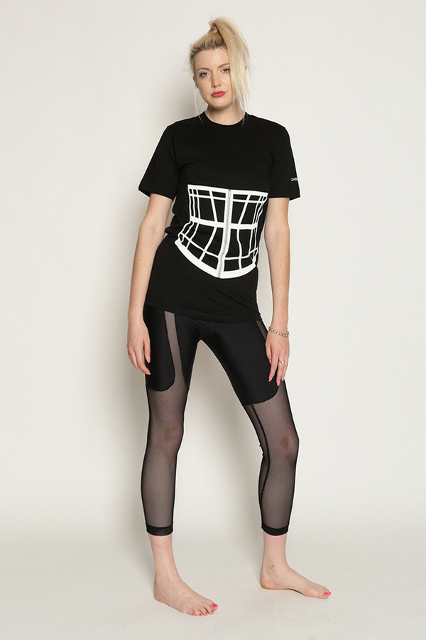 Chromat Shoji Corset Cage T-Shirt in Black/White