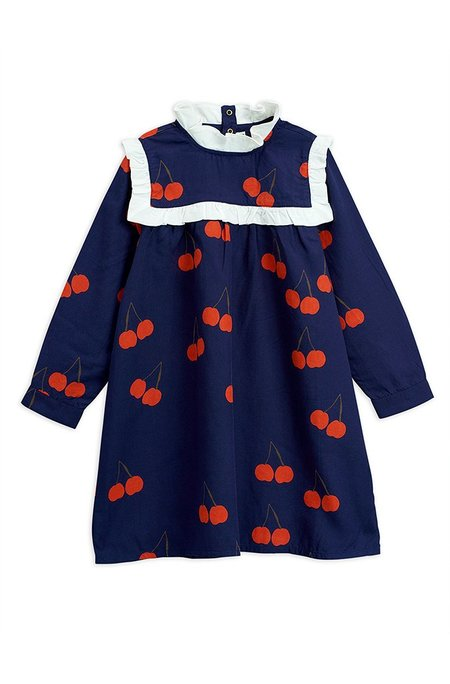 Kids Mini Rodini CHERRY WOVEN FRILL DRESS - Dark Blue