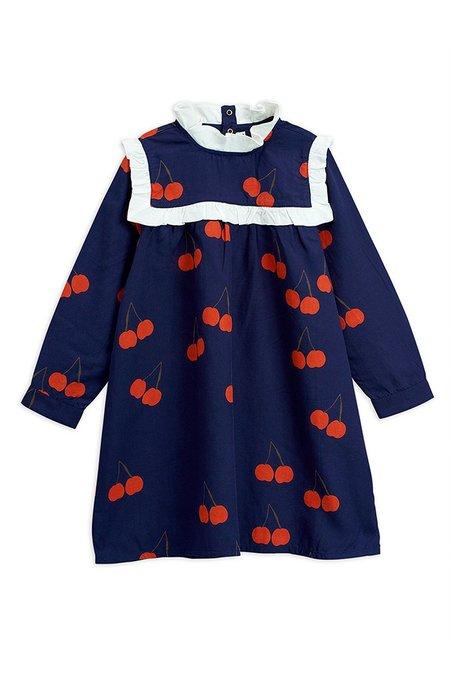 Kids Mini Rodini CHERRY WOVEN FRILL DRESS - Dark Blue