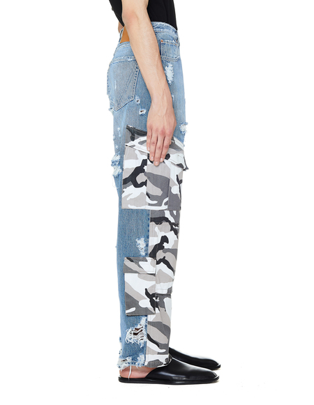 Vetements Military Patched Jeans - blue