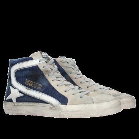 GOLDEN GOOSE DELUXE BRAND Sneakers Slide - Blue Denim/White Star