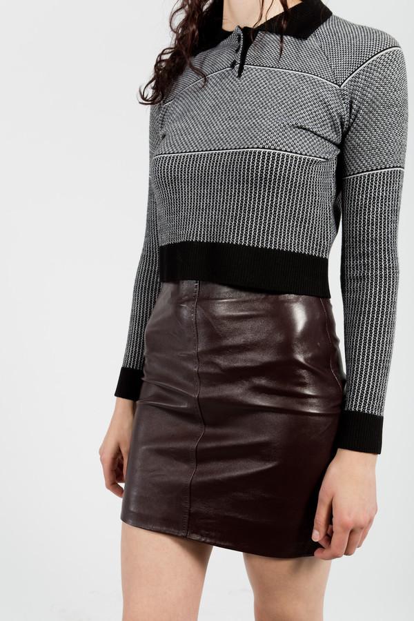 Le Mont St. Michel Lamb Leather Skirt