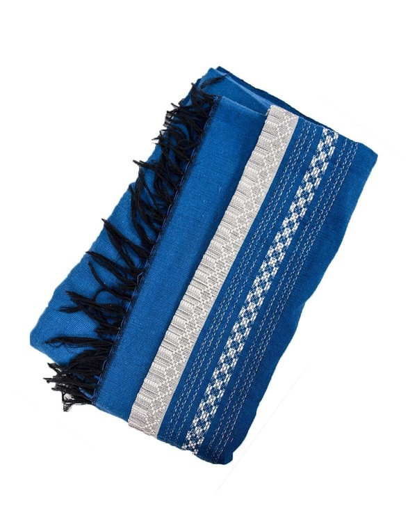 Found Hand Woven Blue and White Patterned Cotton Throw Blanket