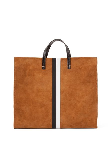 Clare V. Suede Stripe Simple Tote - Camel