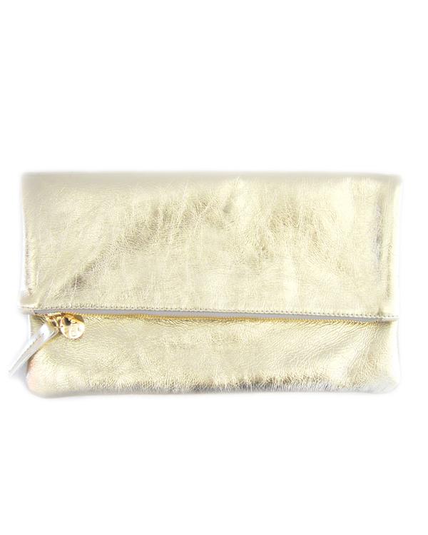 Clare V. Foldover Clutch - Metallic Gold