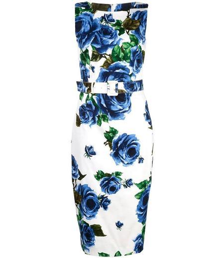 Samantha Sung Celine Eden Rose Pattern Dress - White