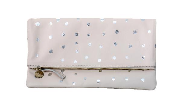 Clare Vivier Foldover Clutch - Buff Amalfi w/ Mini Silver Spots