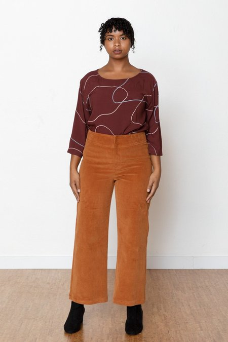 North Of West Monica Corduroy High Rise Pant - Toffee