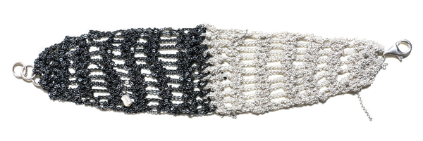 Arielle de Pinto Two Tone Lattice Bracelet - Silver + Midnight