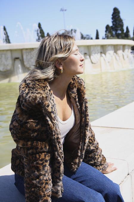 Yuka Paris Venise Faux Fur Jacket - Leopard Print