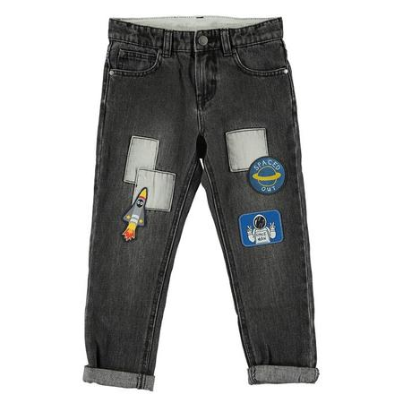 Kids Stella McCartney Child Denim Pants With Space Patches - Grey