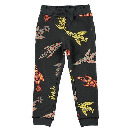 Kids Stella McCartney Child Sweatpants With All-Over Rocket Print - Grey