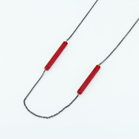 Krista Bermeo Double Barre Necklace - Poppy