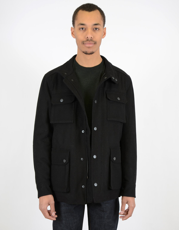 Ben Sherman Melton Field Jacket Jet Black