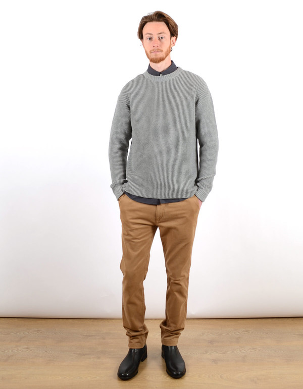 Filippa K Men's Waffle Knit Sweater Grey Melange