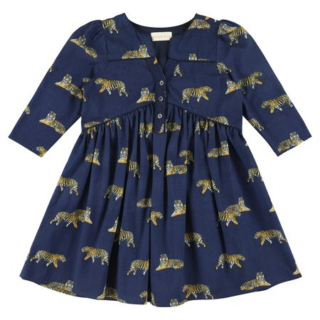 kids simple kids orion tigers print dress - navy