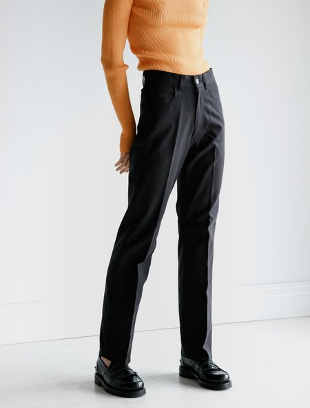 Auralee Hard Twist Double Cloth Pants - Ink Black