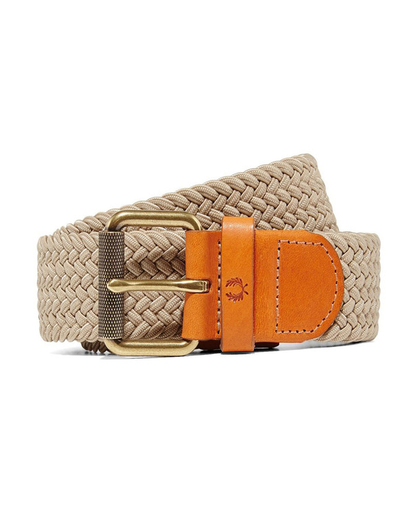 Fred Perry Plain Woven Cord Belt Stone
