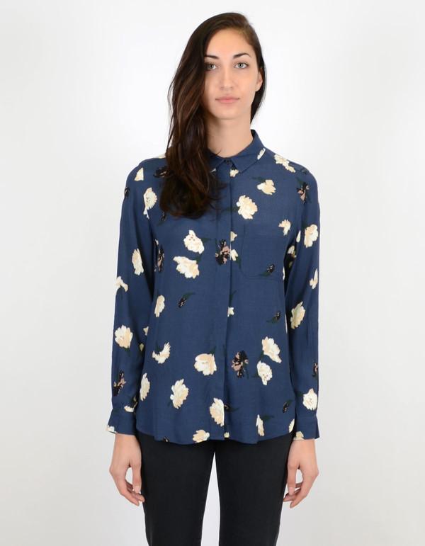 Ganni Jones Shirt Blue Carnation Flower