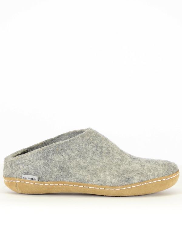 Glerups Men's Wool Slipper Leather Sole Grey