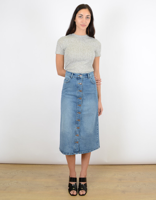 Just Female Pine Long Skirt Blue Wash