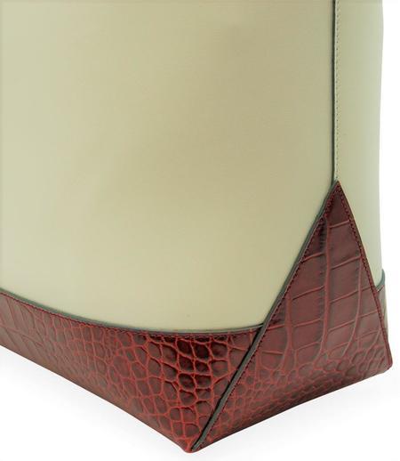 Giulia Maresca Bianca Leather Croc Print Shopping Tote - Beige