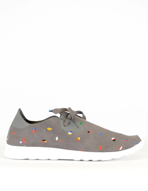 Native Shoes Native Apollo Moc Embroidered Dublin Grey Shell White Chipped Tokyo