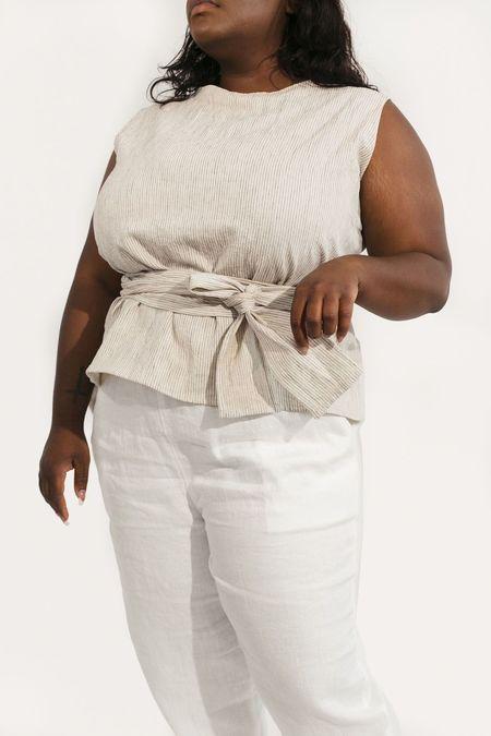 Two Fold Clothing Misako Cotton Linen Stripe Top