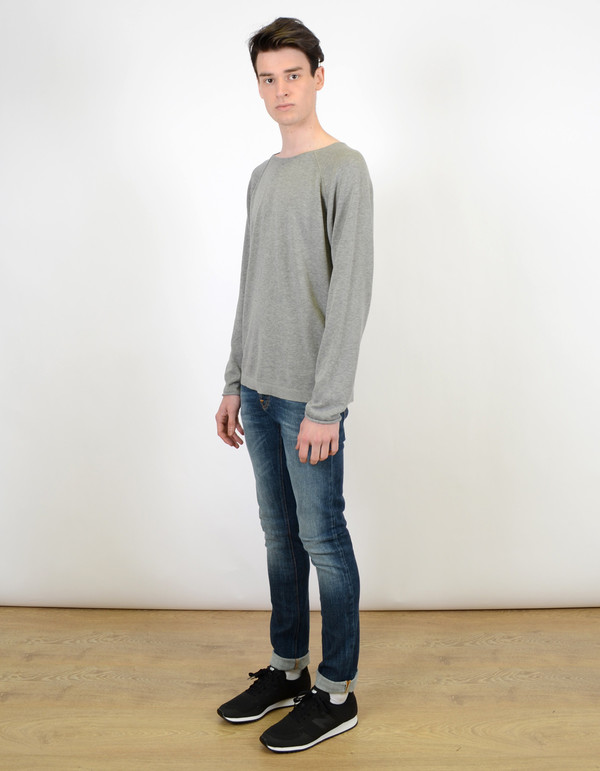 Men's Nudie Vladimir Fine Cotton Sweater Light Grey