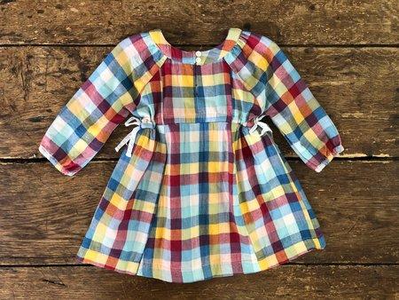 Kids Lali Side-Tie Dress - Rainbow Check